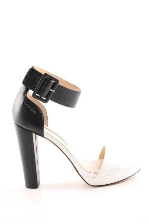 Calvin Klein Riemchenpumps schwarz-weiß Casual-Look