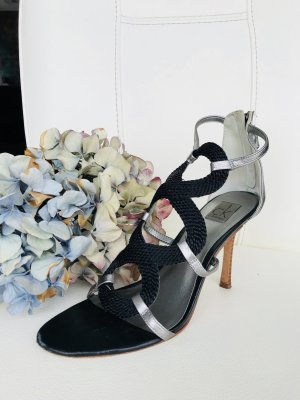 Calvin Klein Strapped High-Heeled Sandals black-silver-colored leather