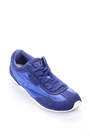 Calvin Klein Schnürsneaker dunkelblau-stahlblau Materialmix-Look