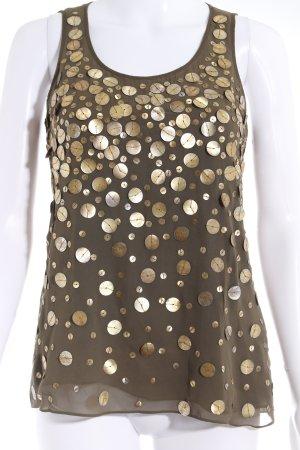 Calvin Klein Off the shoulder top olijfgroen-goud elegant