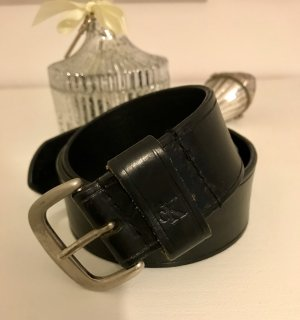 Calvin Klein Leather Belt black-silver-colored