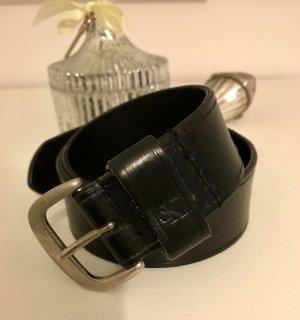 Calvin Klein Ceinture en cuir noir-argenté