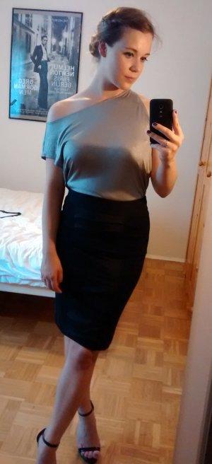 Calvin Klein Shirt Gr 36 38 S Bluse Oberteil Silber Top Blogger CK asymmetrisch