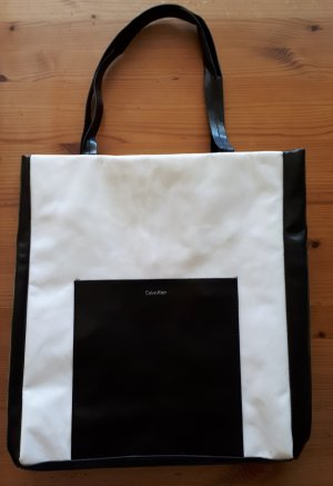 Calvin Klein Shopper white-black imitation leather