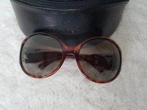 CALVIN KLEIN Sonnenbrille, runde Form, hornfarben, mit Logo und Glitzerstein