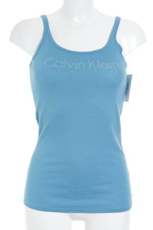 Calvin Klein Spaghettibandtopje korenblauw grafisch patroon simpele stijl