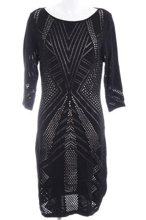 Calvin Klein Strickkleid schwarz-nude grafisches Muster Elegant