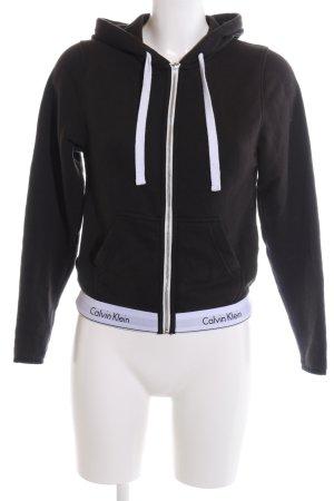 Calvin Klein Sweatjacke schwarz-weiß Schriftzug gedruckt Casual-Look