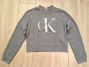 Calvin Klein Sweatshirt Crop Top M grau