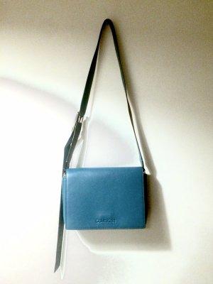 CALVIN KLEIN Umhängetasche Crossbody Bag Tasche Echtleder Türkis