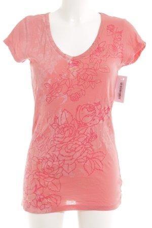 Calvin Klein V-Ausschnitt-Shirt lachs florales Muster Casual-Look