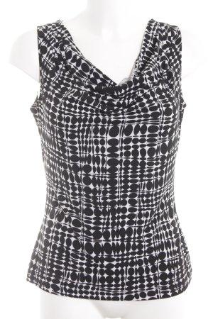 Calvin Klein Top collo ad anello bianco-nero motivo grafico stile casual