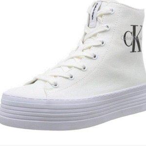 Calvin Klein – Weiße, hohe Canvas-Sneaker Größe 38