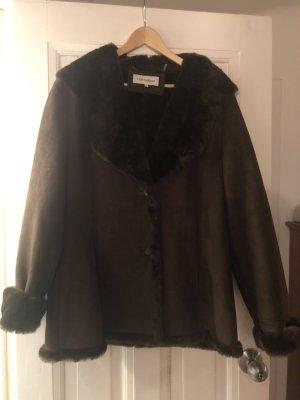 Calvin Klein Fake Fur Coat dark brown-brown