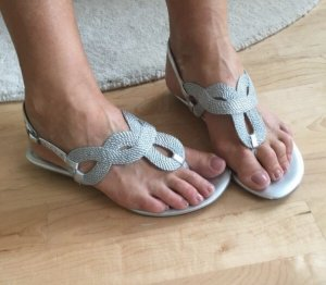 Calvin Klein High-Heeled Toe-Post Sandals silver-colored