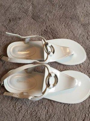 Calvin Klein Toe-Post sandals white imitation leather