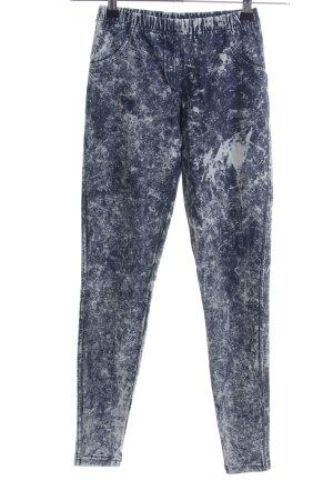 Calzedonia Leggings blau-weiß abstraktes Muster Casual-Look