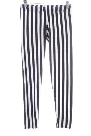 Calzedonia Leggings schwarz-weiß Streifenmuster Casual-Look