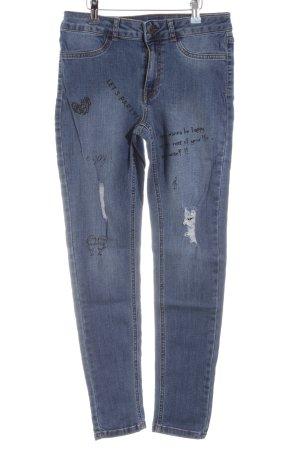 Calzedonia Straight-Leg Jeans blau Motivdruck Casual-Look