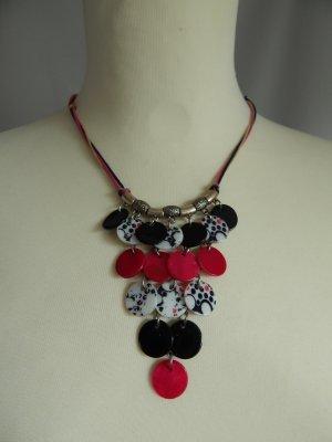 Camaieu,Kurze Modeschmuckkette-Kordel-Metall-Perlmuttplättchen blau-pink-weiß