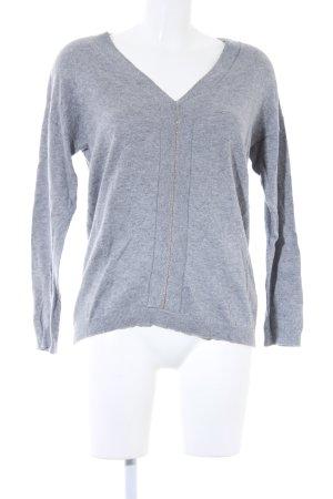 Camaieu V-Ausschnitt-Pullover grau Casual-Look