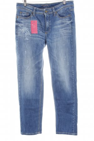 Cambio 7/8 Jeans blau platzierter Druck Casual-Look
