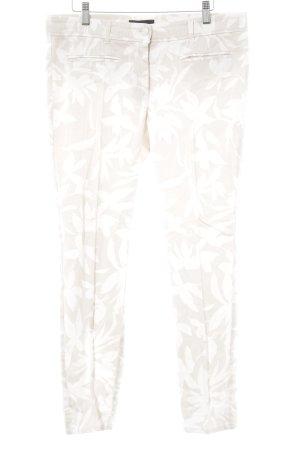 Cambio Bundfaltenhose hellbeige-wollweiß florales Muster Casual-Look