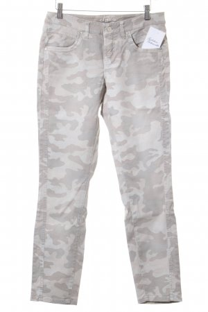 Cambio High Waist Jeans creme-beige Camouflagemuster Casual-Look