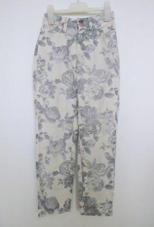 Cambio Jeans Hose in Weiß mit Blumenmuster