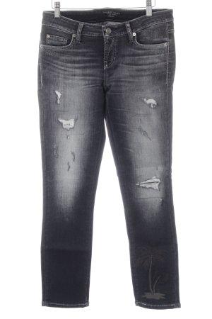 Cambio Jeans Slim Jeans dunkelgrau Used-Optik