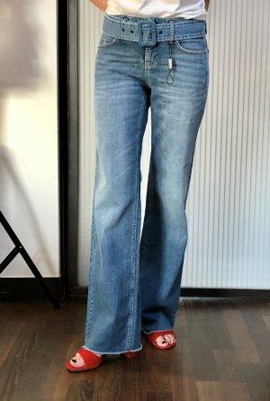 Cambio Jeans a zampa d'elefante azzurro-blu fiordaliso Cotone