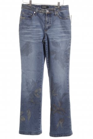 Cambio Jeansschlaghose stahlblau florales Muster Casual-Look
