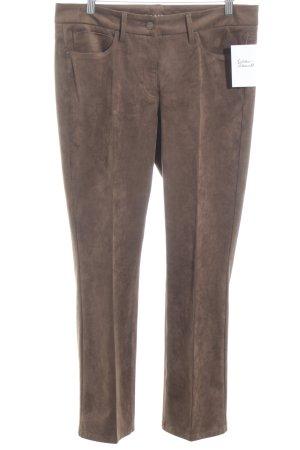 Cambio Pantalon en cuir brun foncé style décontracté