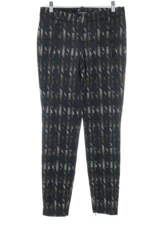 Cambio Pantalon cigarette noir-gris clair motif abstrait style festif