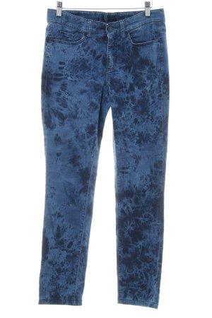 Cambio Röhrenhose stahlblau-dunkelblau Batikmuster Vintage-Look
