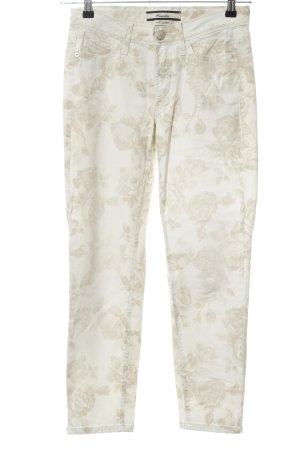 Cambio Slim Jeans creme Blumenmuster Casual-Look