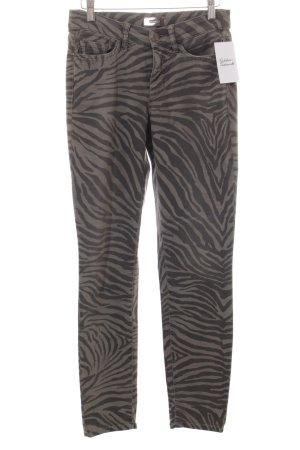 Cambio Slim Jeans graubraun-taupe Animalmuster Casual-Look