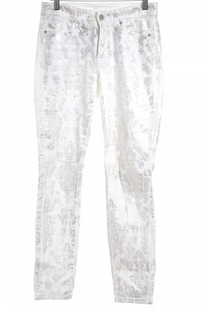 Cambio Slim Jeans silberfarben-wollweiß Mustermix Logo-Applikation aus Metall