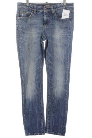 Cambio Slim Jeans stahlblau Hippie-Look
