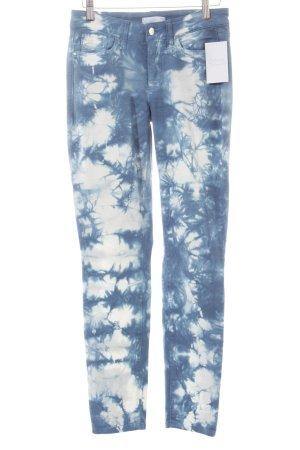 Cambio Slim Jeans weiß-blau Batikmuster Casual-Look