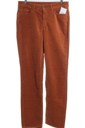 Cambio Straight-Leg Jeans dunkelorange Samt-Optik