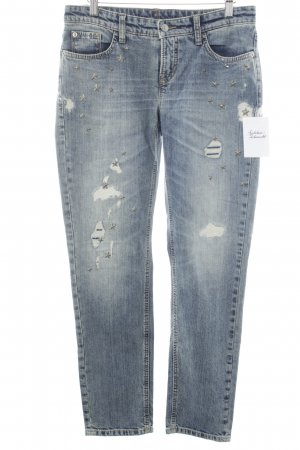 Cambio Straight-Leg Jeans graublau-wollweiß Destroy-Optik
