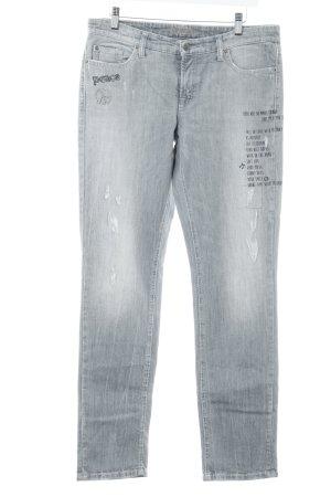 Cambio Straight-Leg Jeans Schriftzug gedruckt Skater-Look
