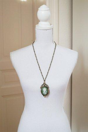 Camee Halskette antikgold Kamee mintgrün lindgrün minze Antik Vintage-Look edel