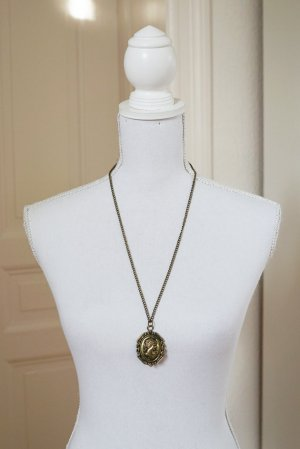 Camee lange Halskette gold Kamee Gesicht elegant edel Vintage-Look antikgold