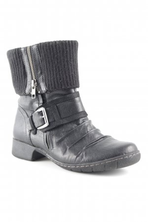 Camel Active Zipper Booties black-silver-colored biker look