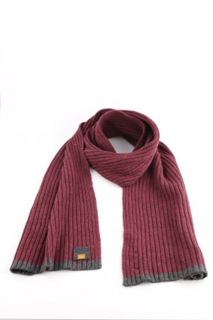 Camel Active Knitted Scarf red-light grey cable stitch casual look