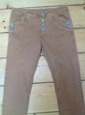 Jeans a sigaretta albicocca Tessuto misto