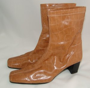 Slouch Booties sand brown imitation leather