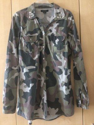 Camouflage Bluse mit Glitzersteinchen